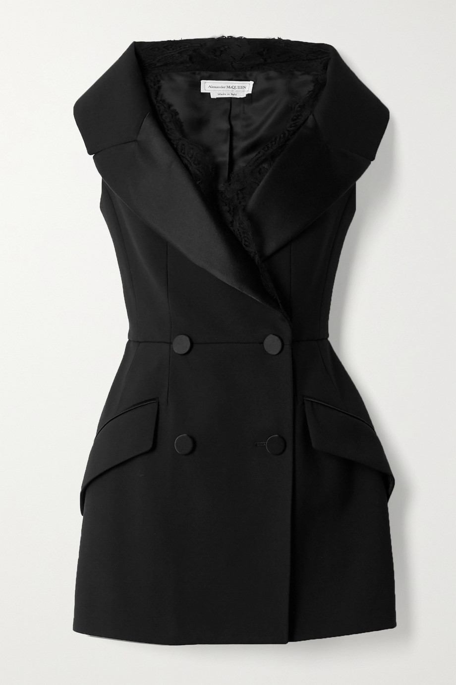 Alexander McQueen Double-breasted lace and satin-trimmed wool-blend vest