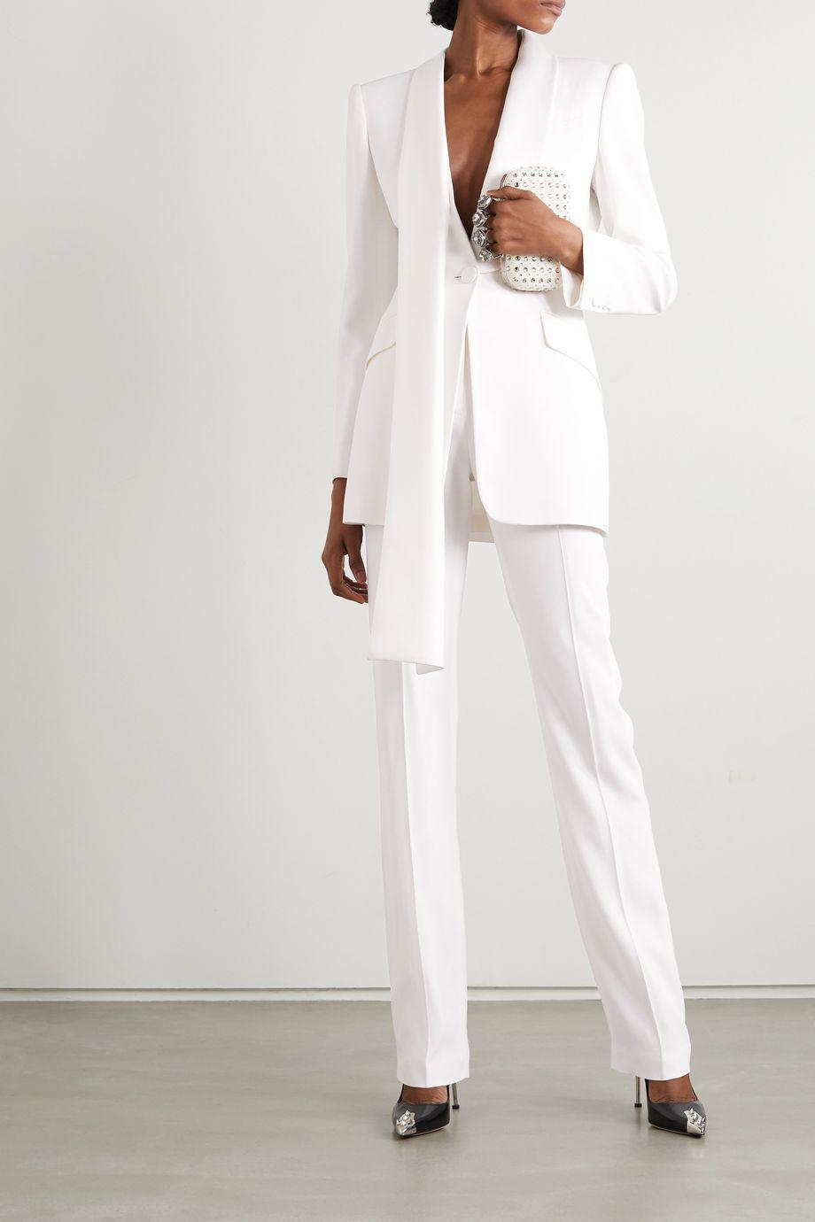 Alexander McQueen Draped cutout crepe blazer