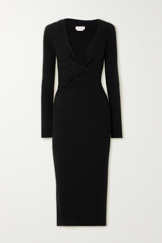 Alexander McQueen Twist-front ribbed wool midi dress