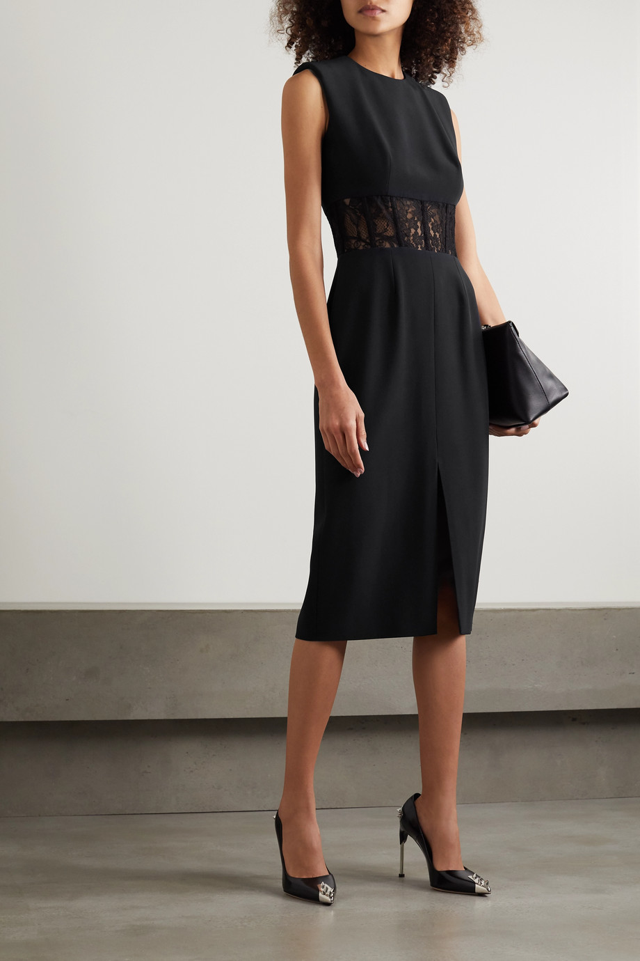 Alexander McQueen Lace-trimmed crepe midi dress