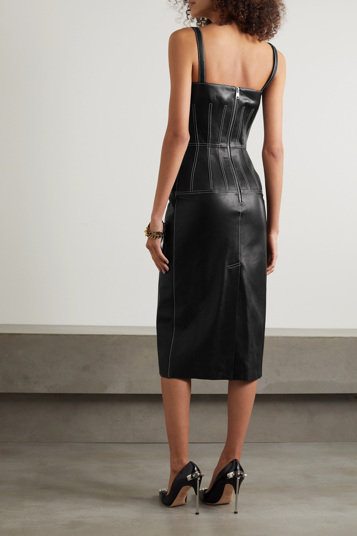 Alexander McQueen Belted leather midi dress