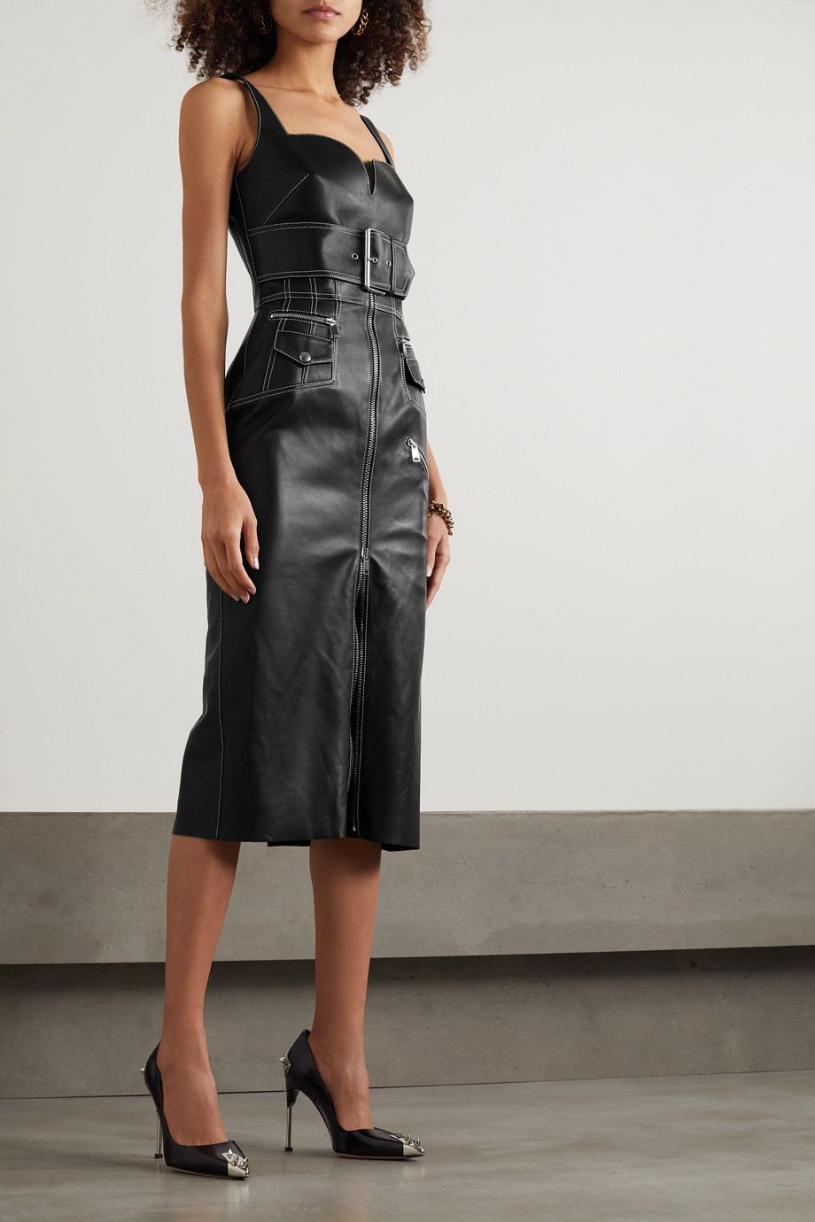 Alexander McQueen Belted leather midi dress