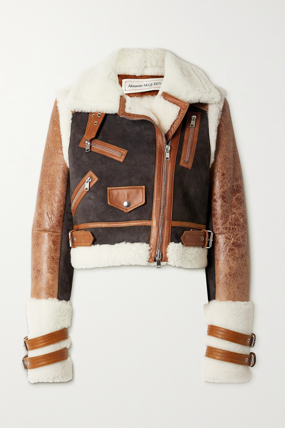 Alexander McQueen Cropped shearling, suede and textured-leather jacket
