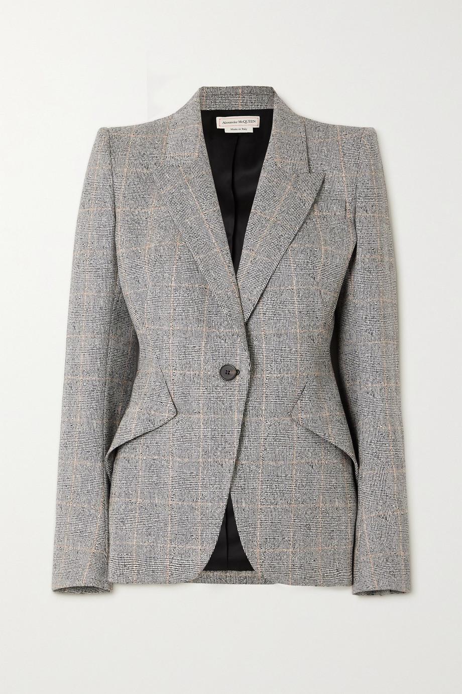Alexander McQueen Blazer en laine mélangée à carreaux prince-de-galles