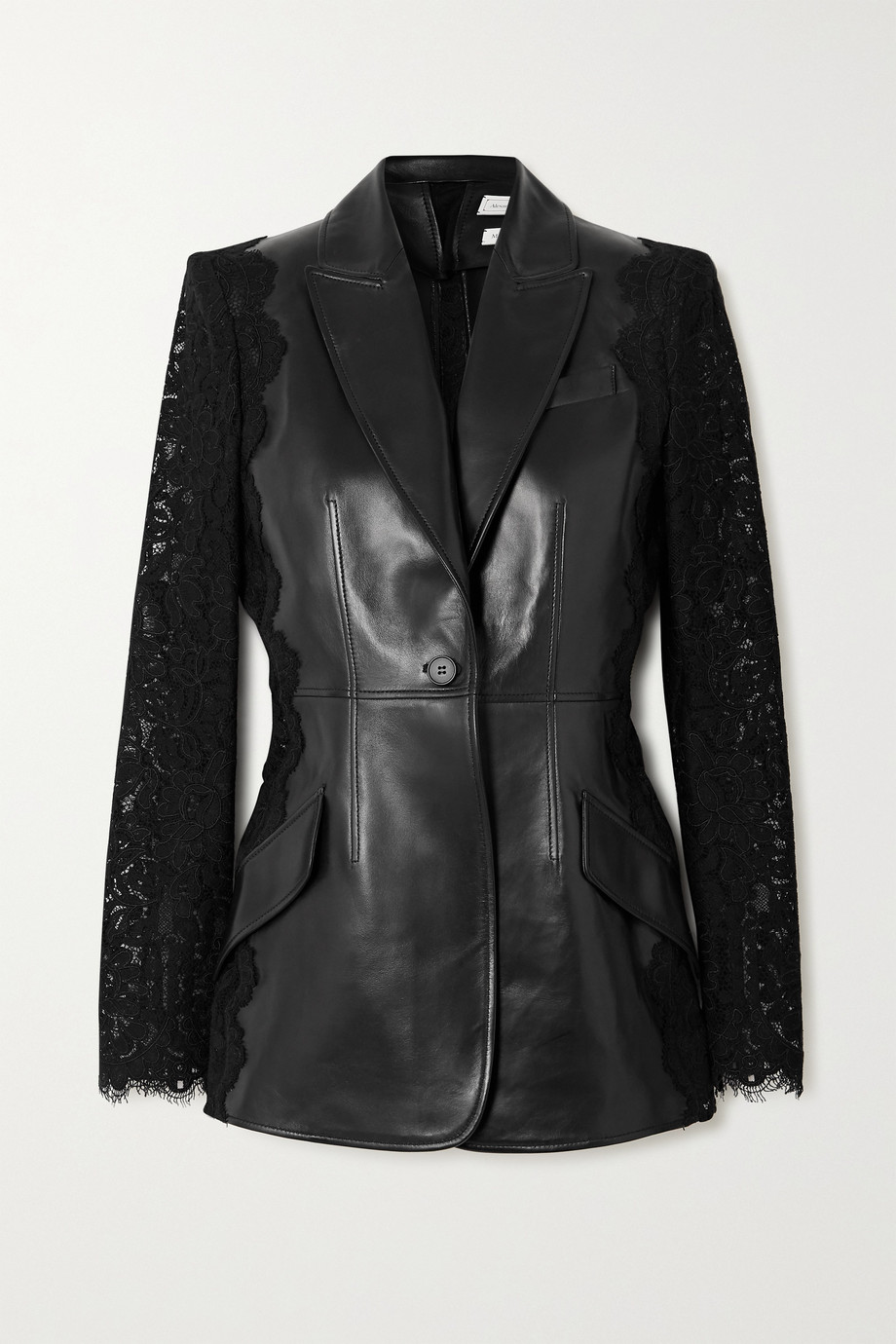 Alexander McQueen Leather and cotton-blend lace blazer