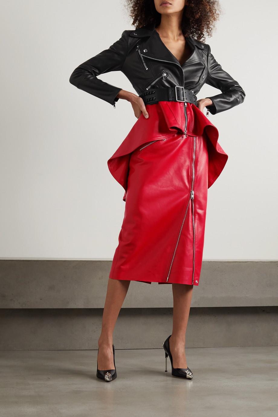 Alexander McQueen Two-tone leather peplum biker jacket