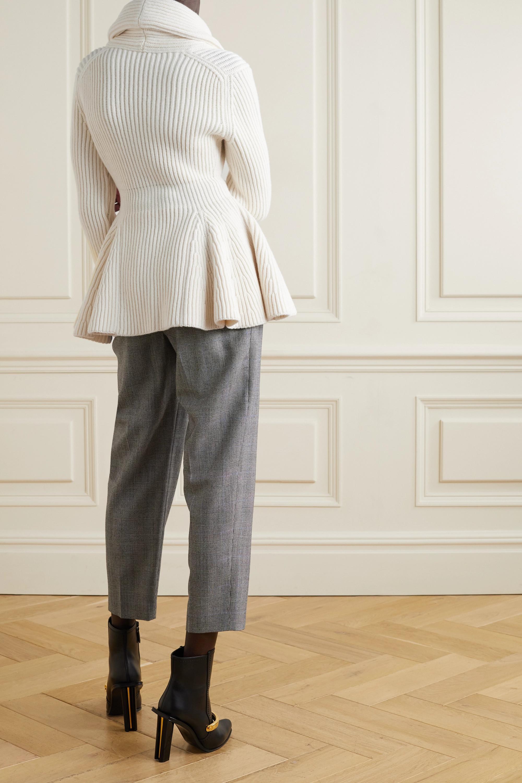 Alexander McQueen Cardigan aus gerippter Wolle mit Schößchen