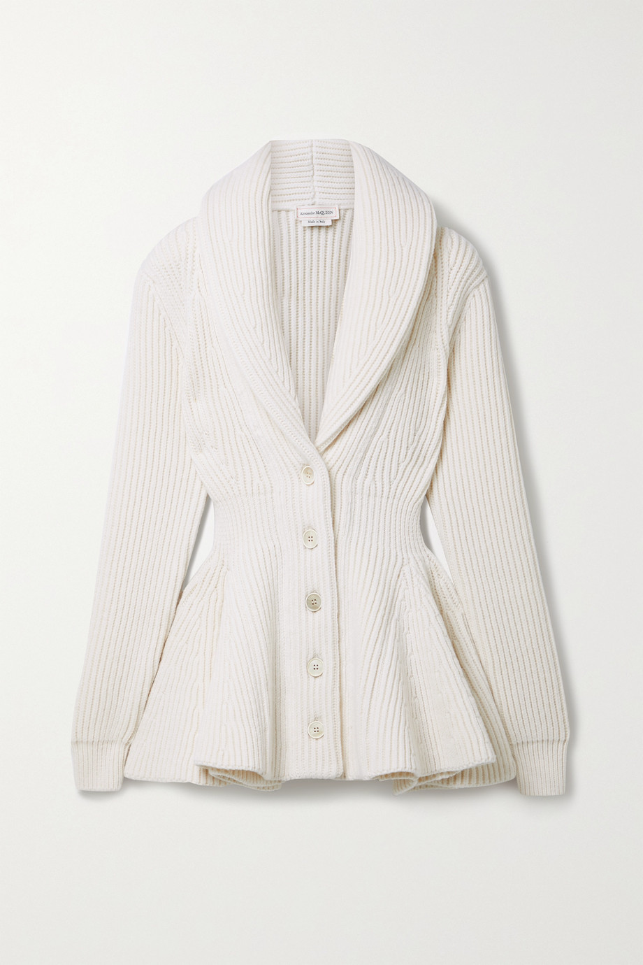 Alexander McQueen Ribbed wool peplum cardigan