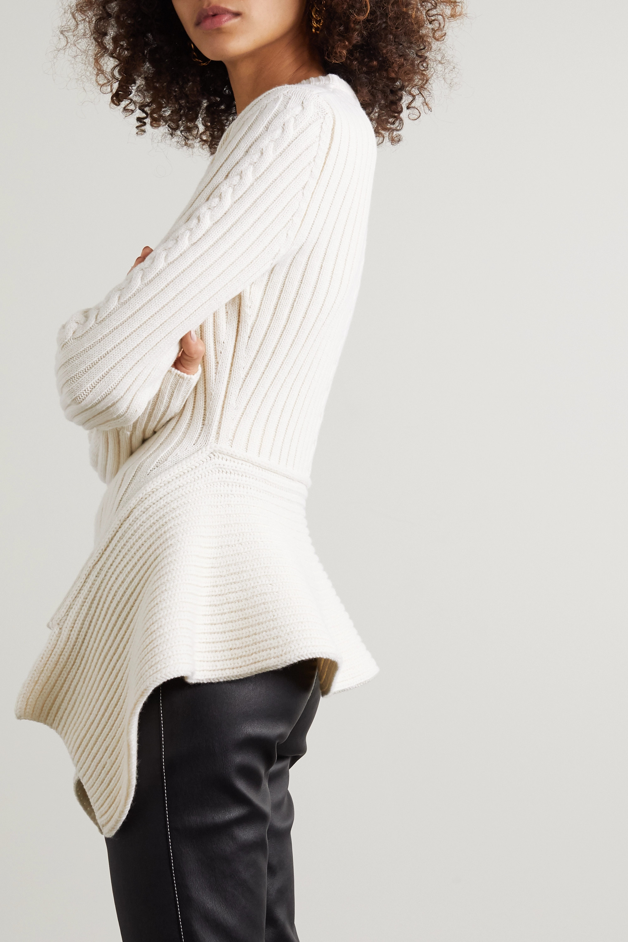 Alexander McQueen Asymmetric ribbed and cable-knit wool and cashmere-blend sweater