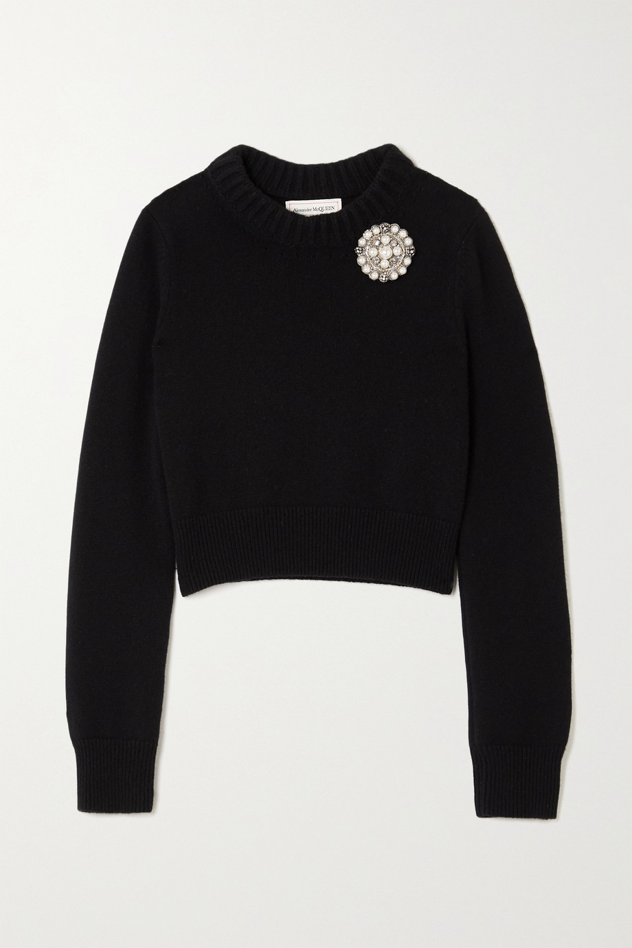 Alexander McQueen Cropped embellished cashmere sweater