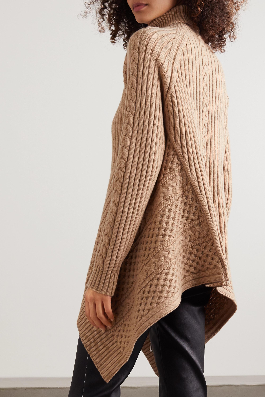 Alexander McQueen Pull asymétrique à col roulé en laine et cachemire mélangés à mailles torsadées