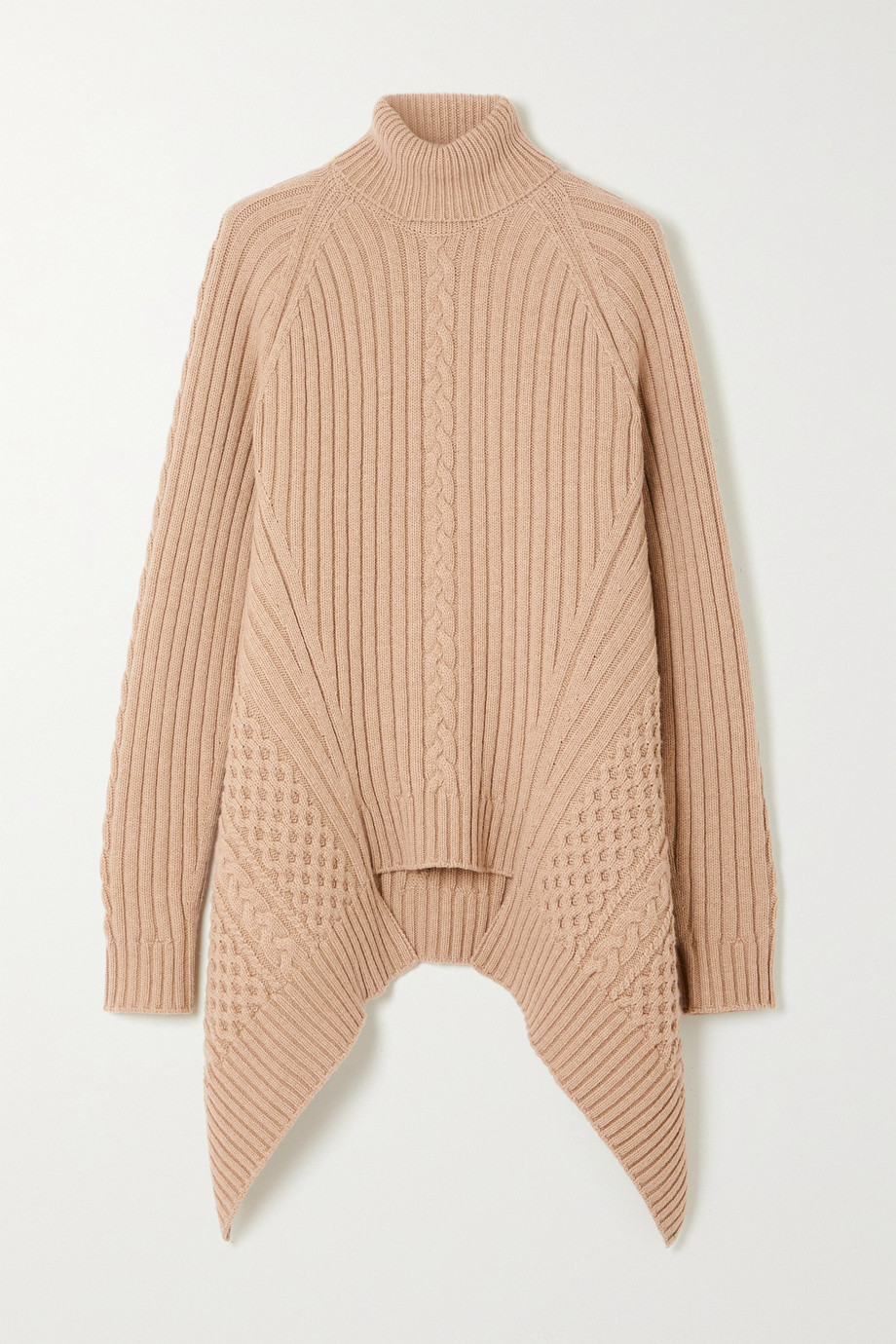 Alexander McQueen Asymmetric cable-knit wool and cashmere-blend turtleneck sweater