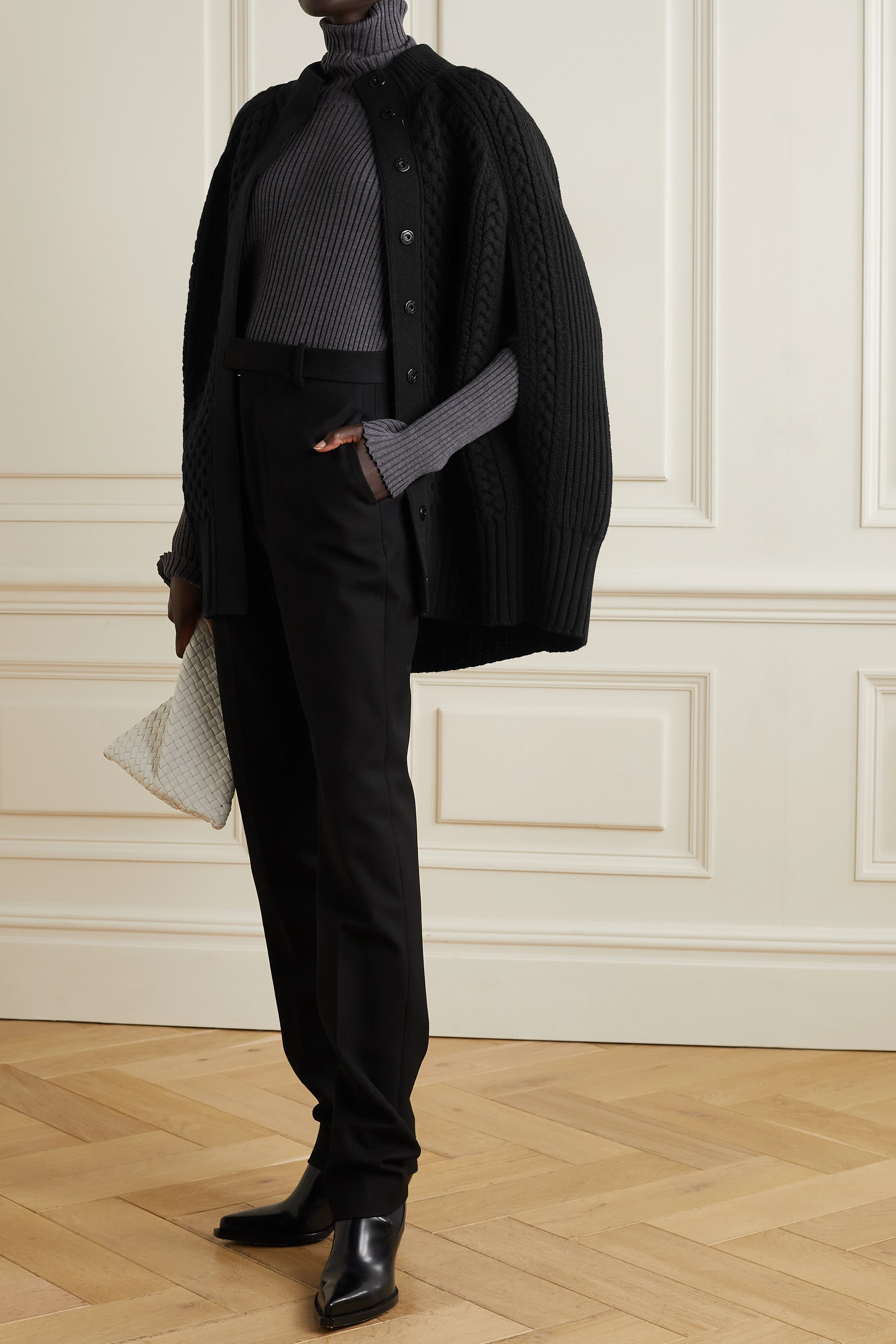 Alexander McQueen Cable-knit wool and cashmere-blend cape
