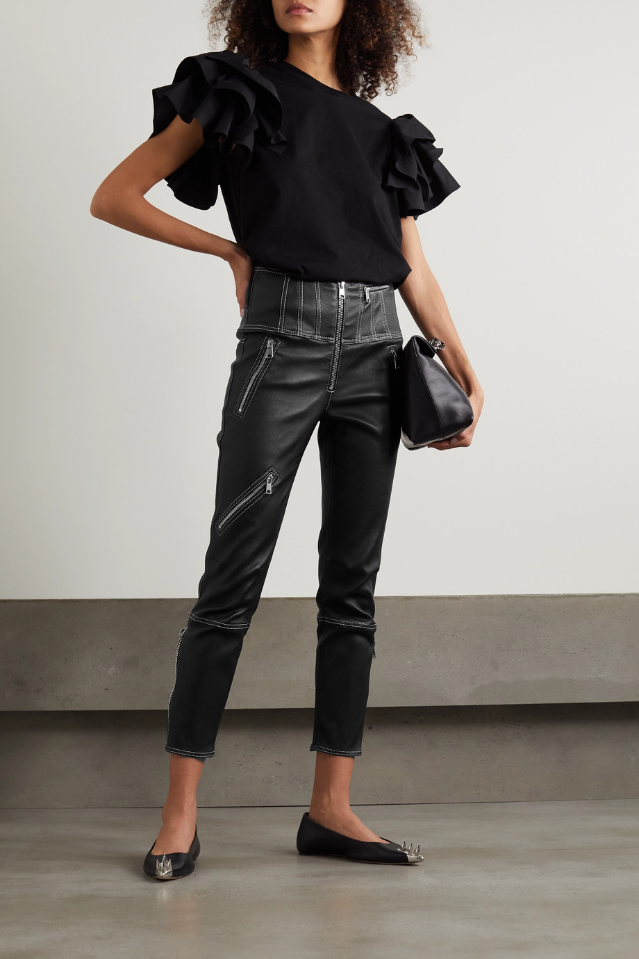 Alexander McQueen Cropped zip-embellished topstitched leather leggings