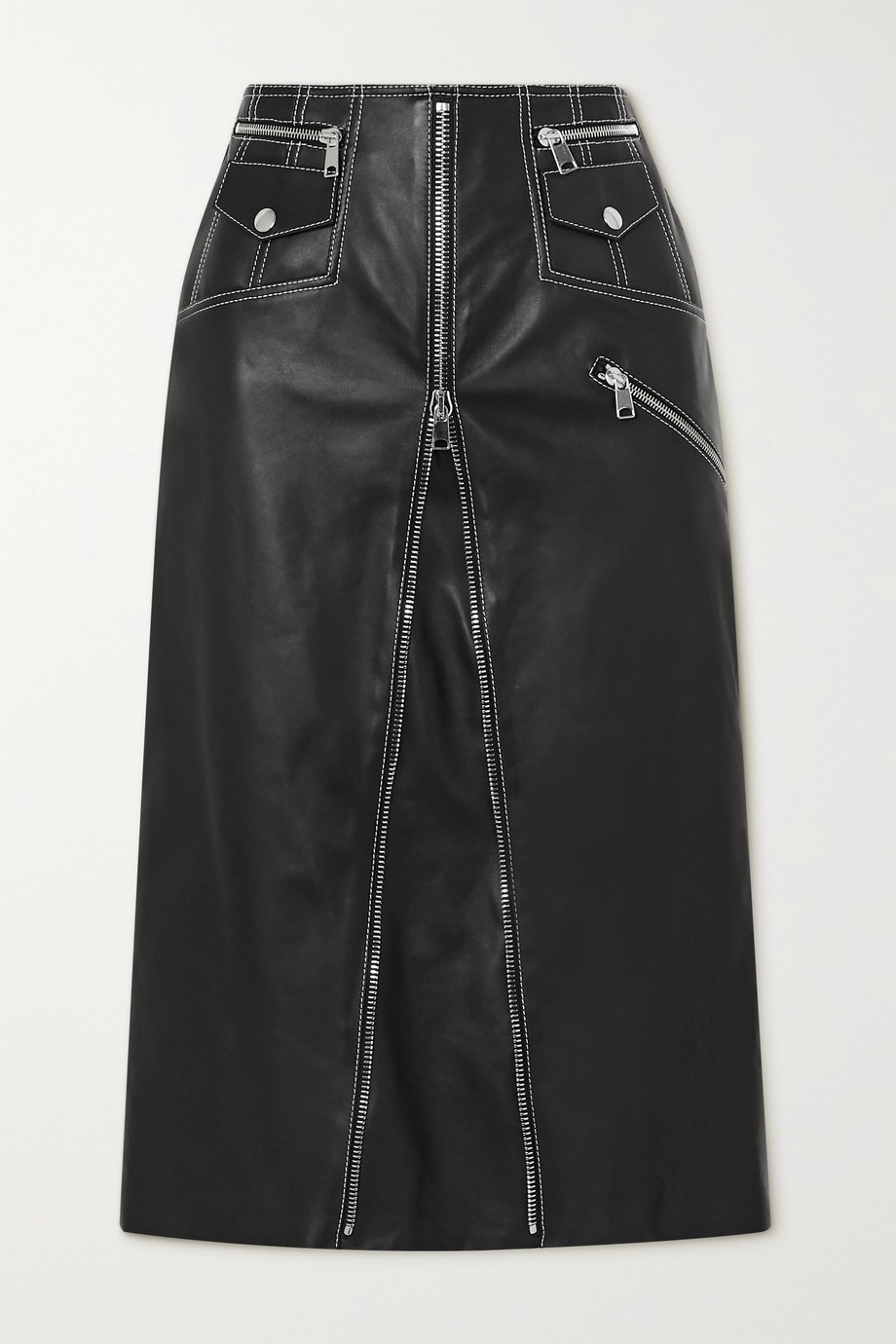 Alexander McQueen Zip-embellished topstitched leather midi skirt
