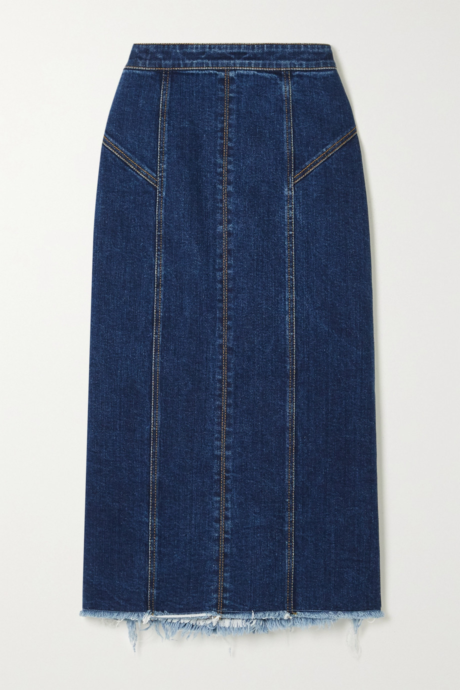 Alexander McQueen Frayed denim midi skirt
