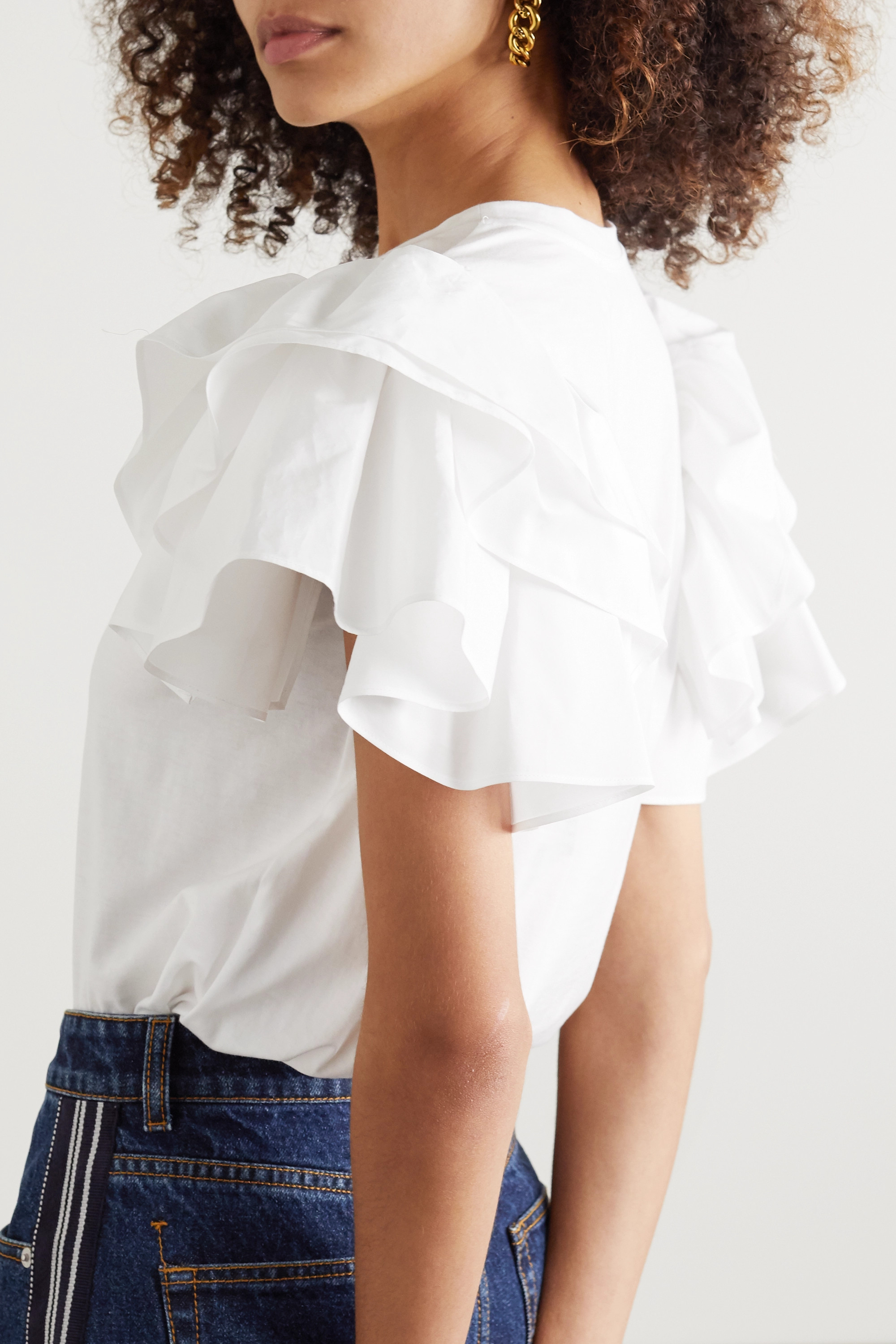 Alexander McQueen Ruffled poplin-trimmed cotton-jersey T-shirt