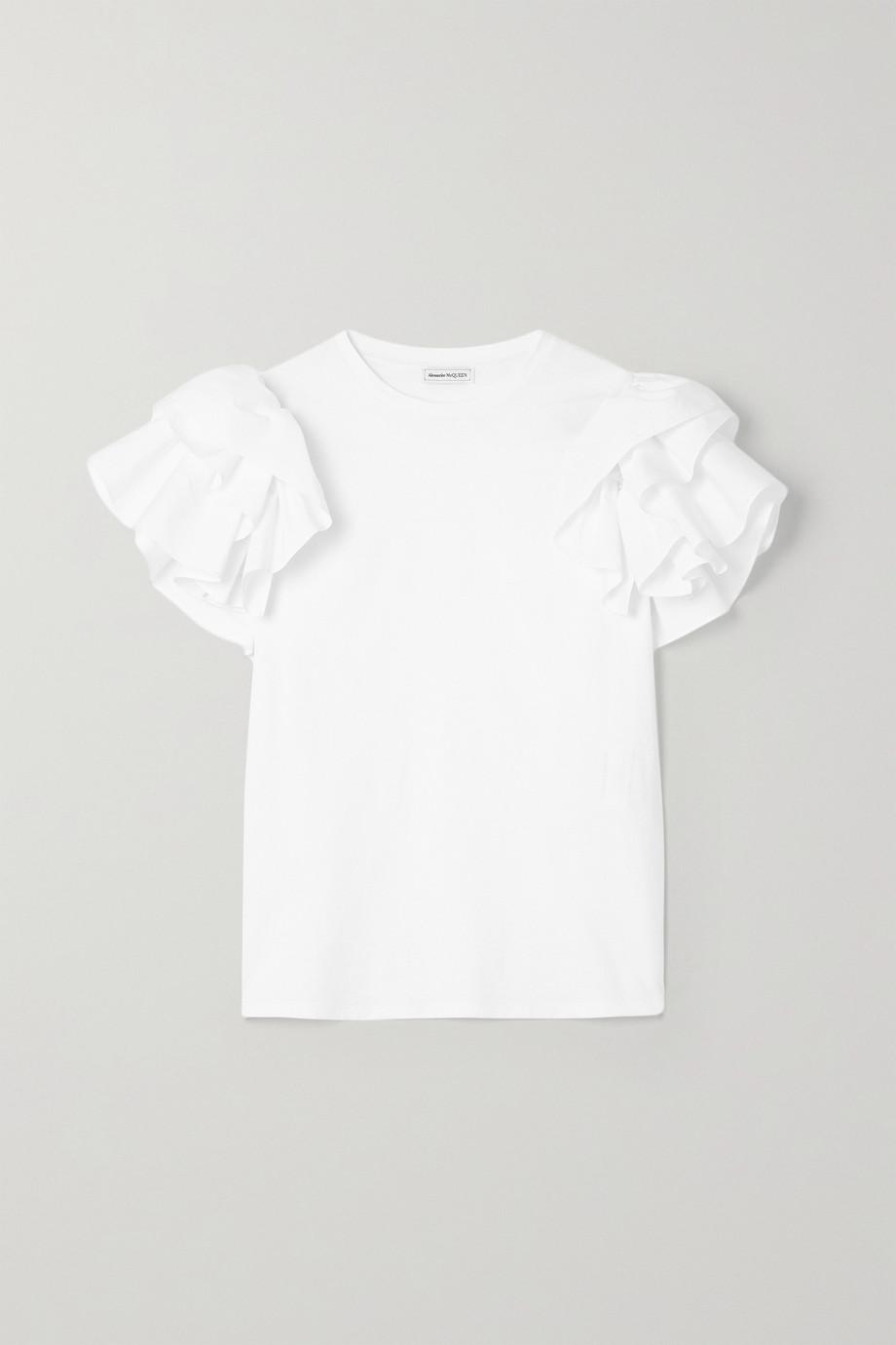 Alexander McQueen T-shirt en jersey et en popeline de coton à volants