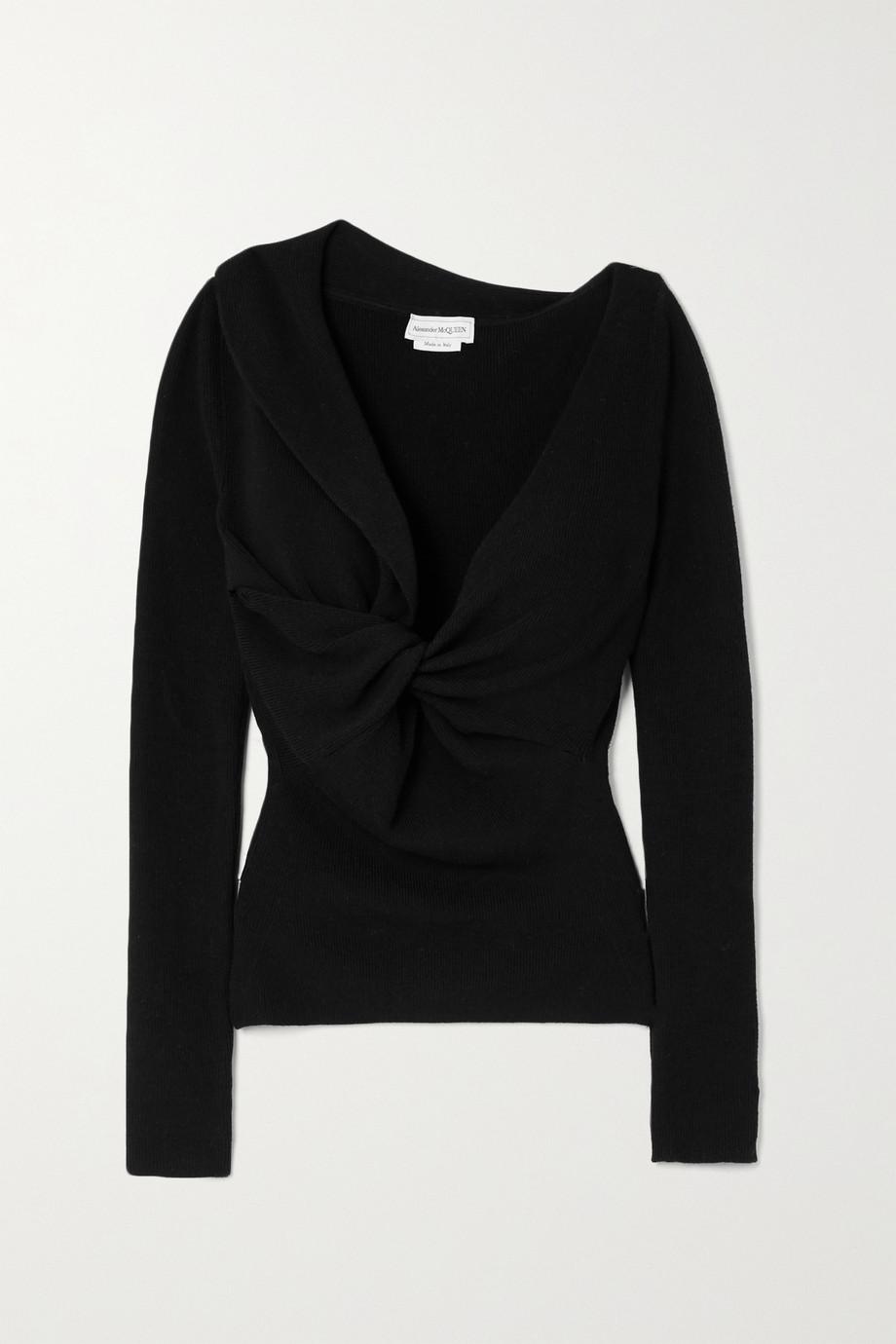 Alexander McQueen Pullover aus gerippter Wolle mit Twist-Detail