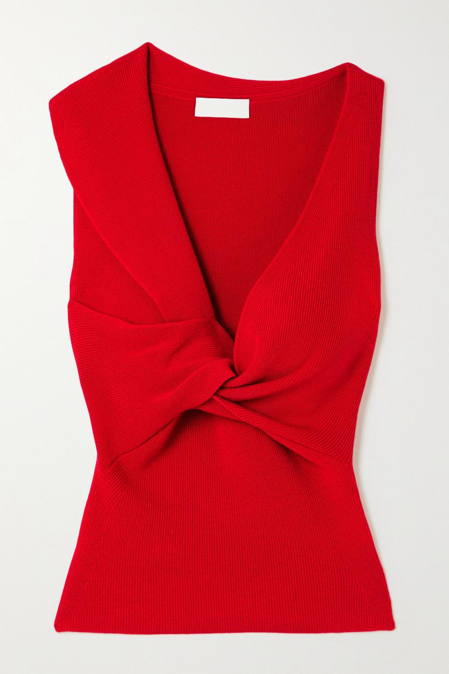 Alexander McQueen Twist-front ribbed wool top