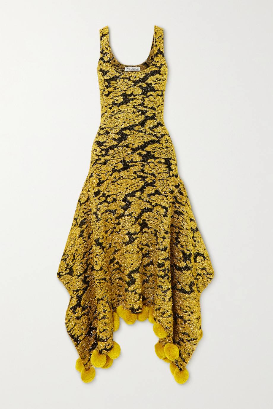 JW Anderson Asymmetric pompom-embellished metallic floral-jacquard dress