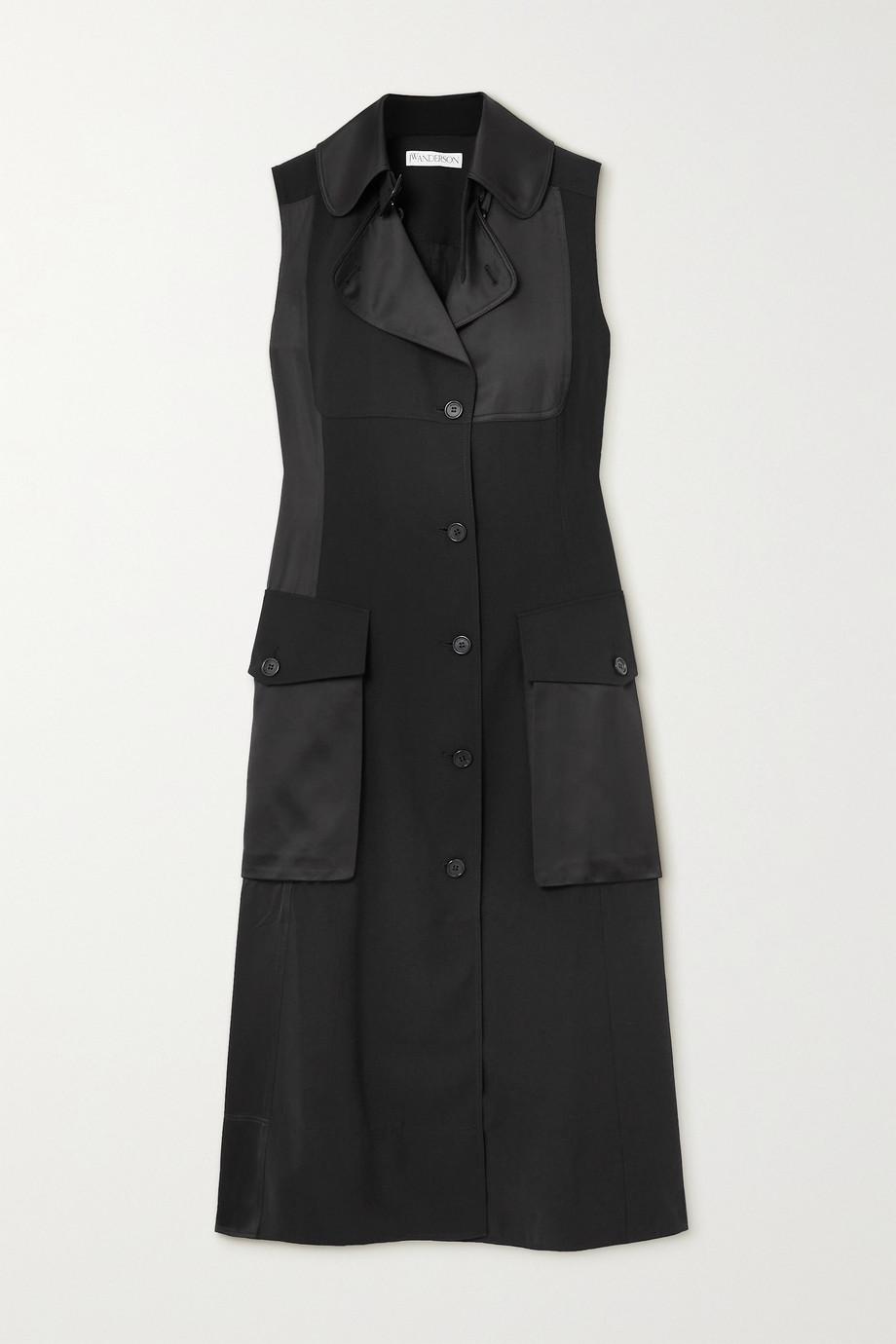 JW Anderson Satin-paneled crepe de chine midi dress