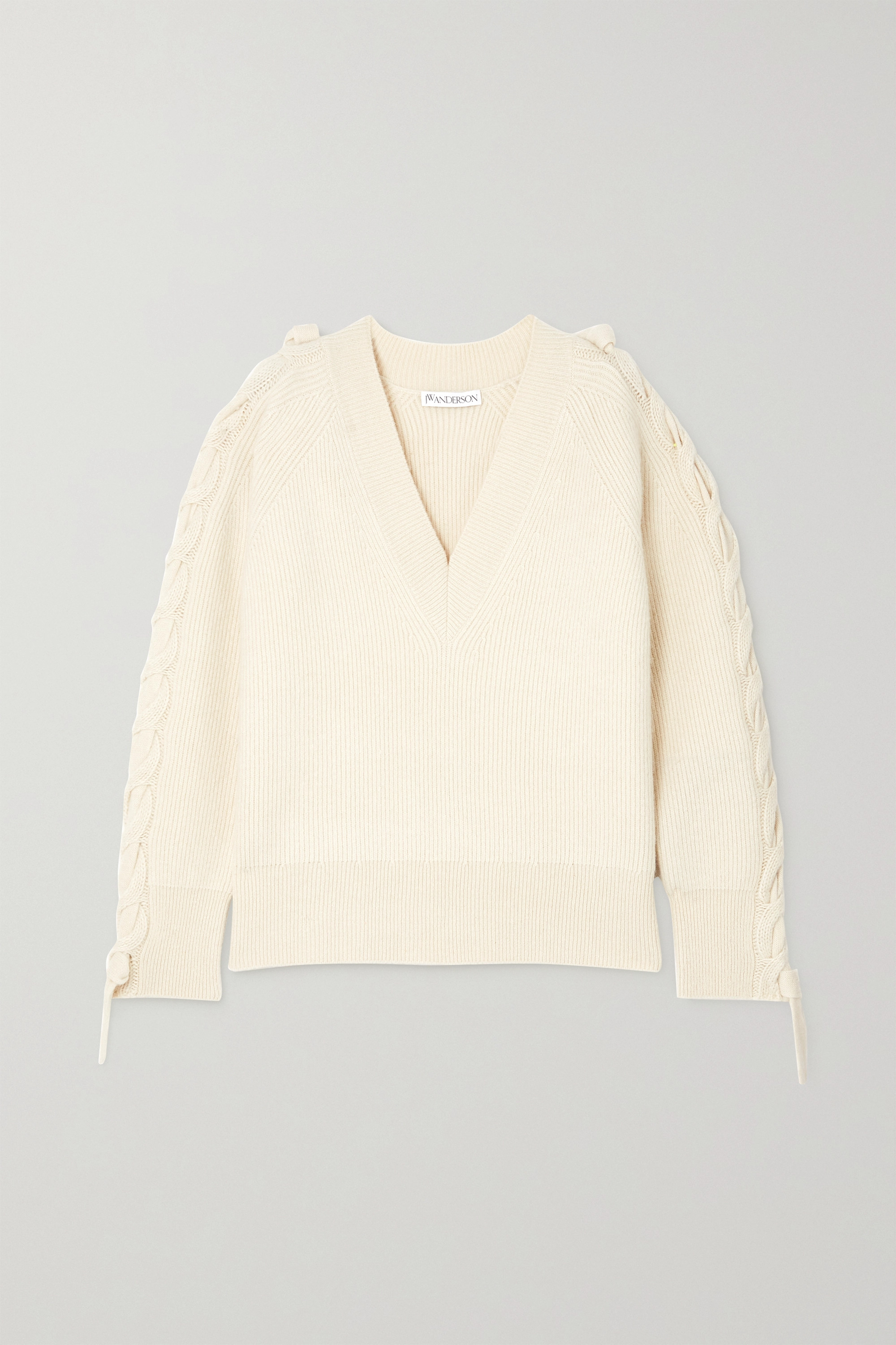 JW Anderson Cable-knit ribbed alpaca and yak wool-blend sweater