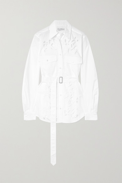 Jw Anderson Belted Broderie Anglaise Cotton-poplin Shirt In White