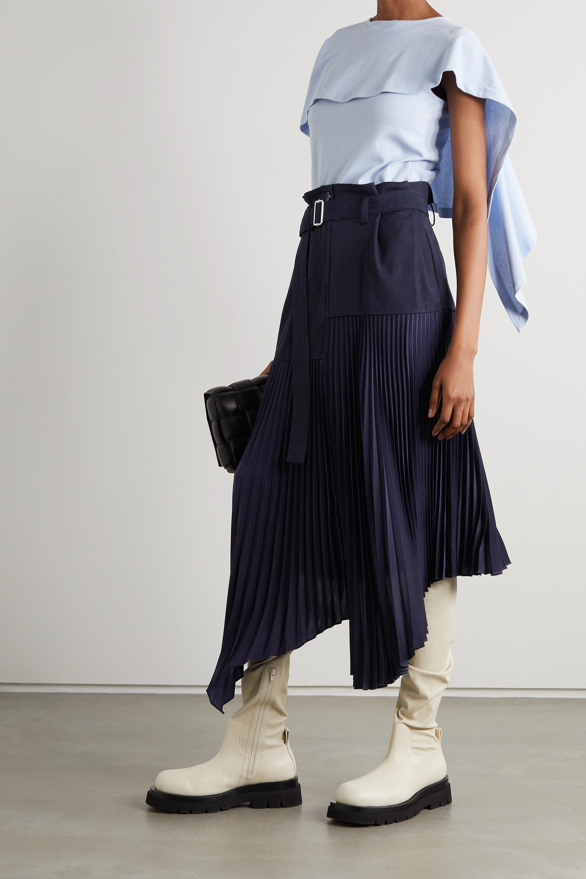 JW Anderson Belted asymmetric pleated crepe and wool midi skirt