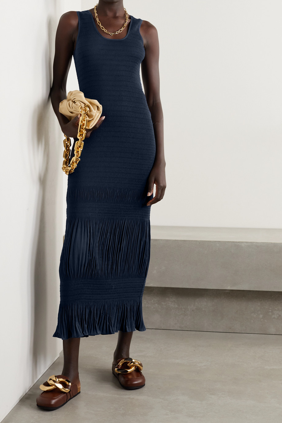 JW Anderson Shirred plissé-crepe maxi dress