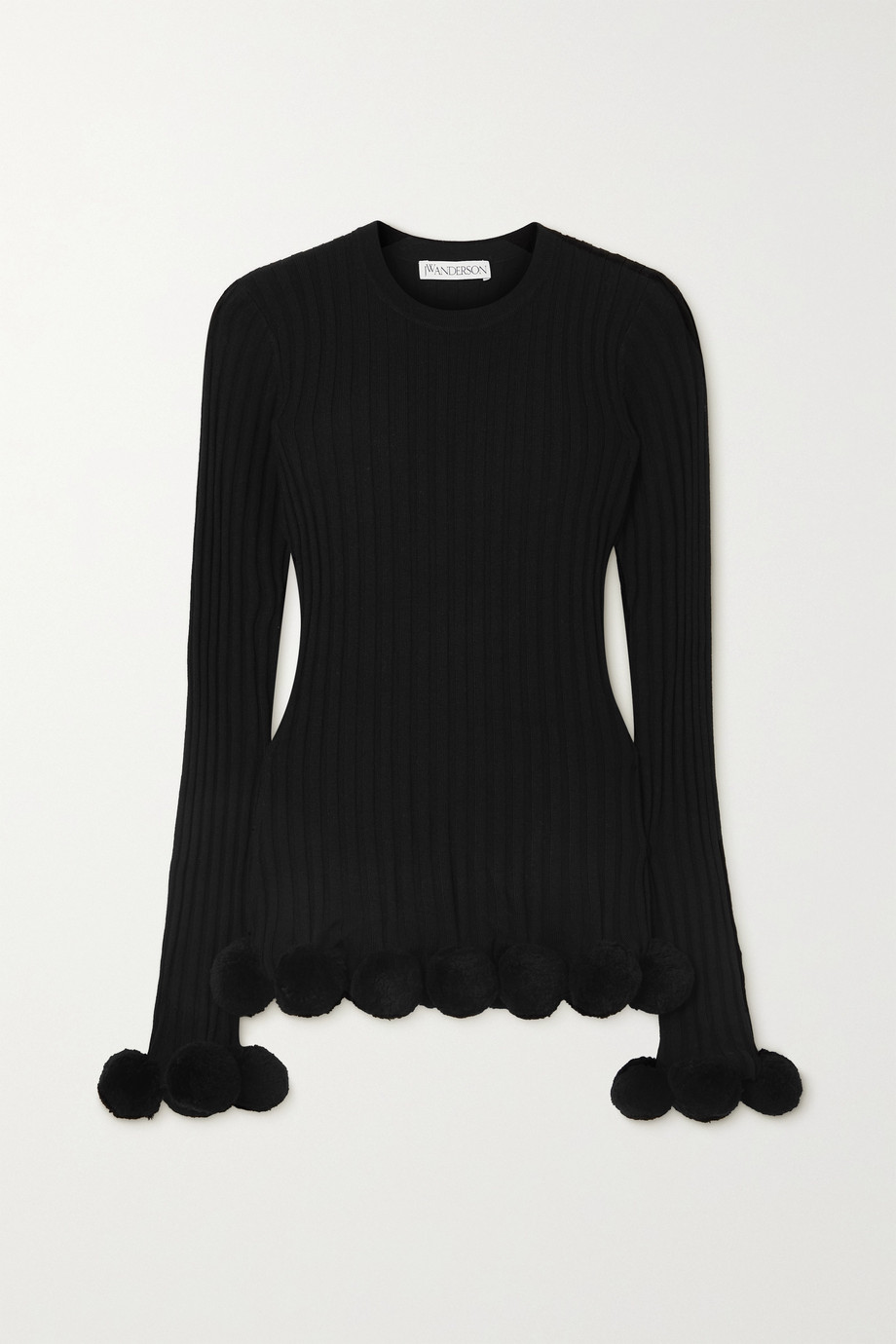 JW Anderson Pompom-embellished ribbed wool sweater