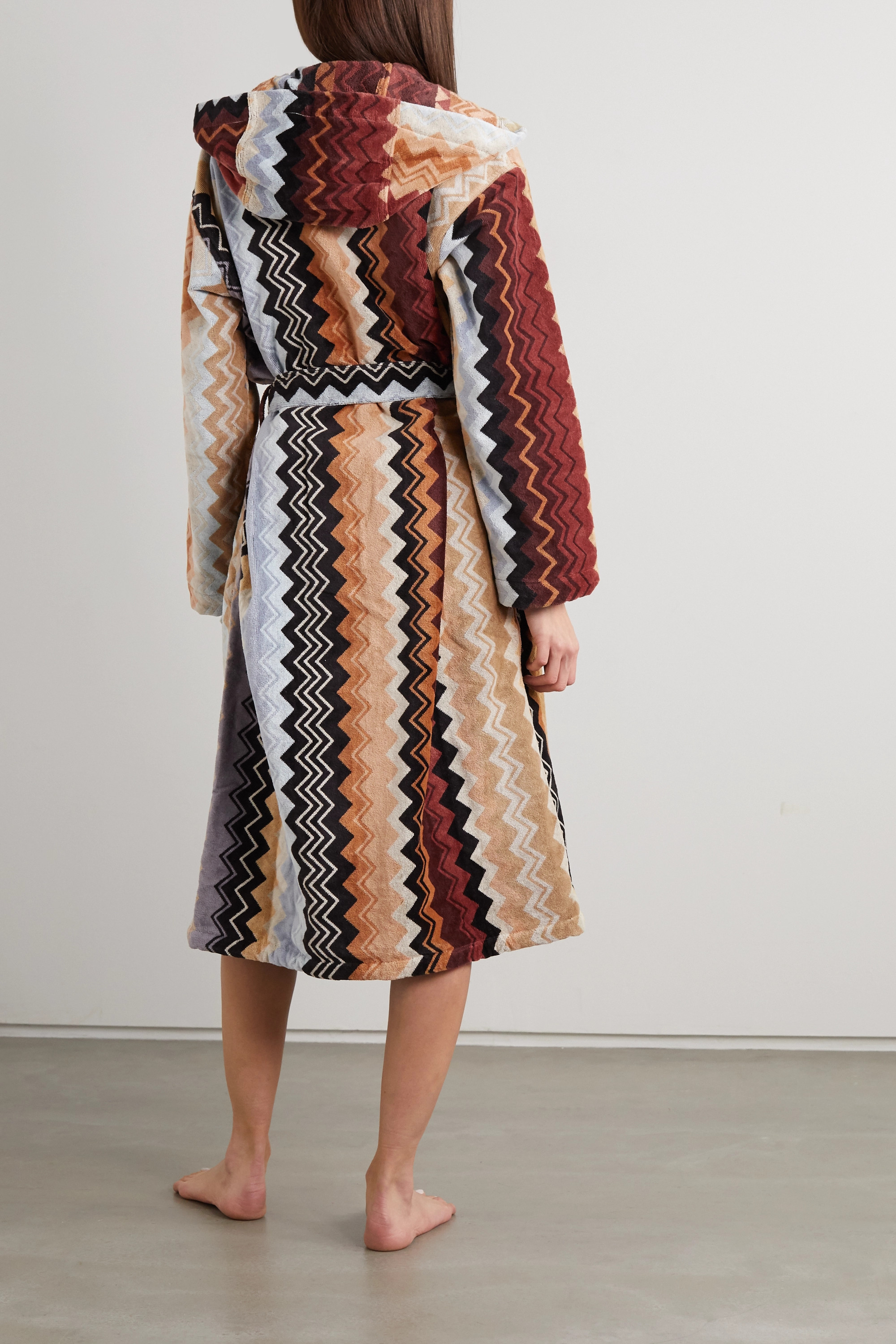 Missoni Home Giacomo striped hooded belted cotton-terry robe