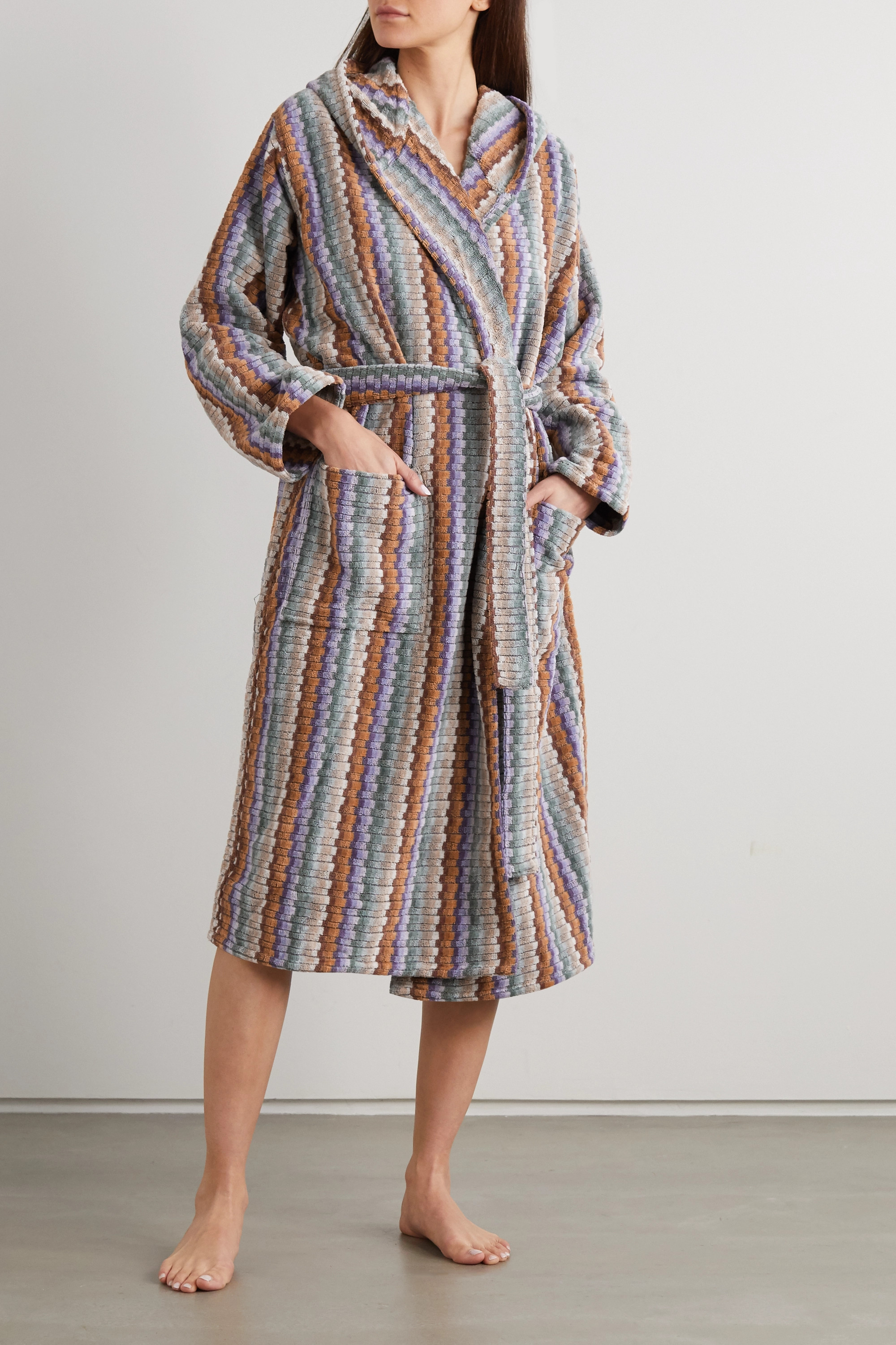 Missoni Home Yvar striped hooded belted cotton-terry robe