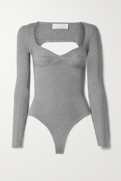 Fleur du Mal - Cutout Ribbed-knit Thong Bodysuit - Gray