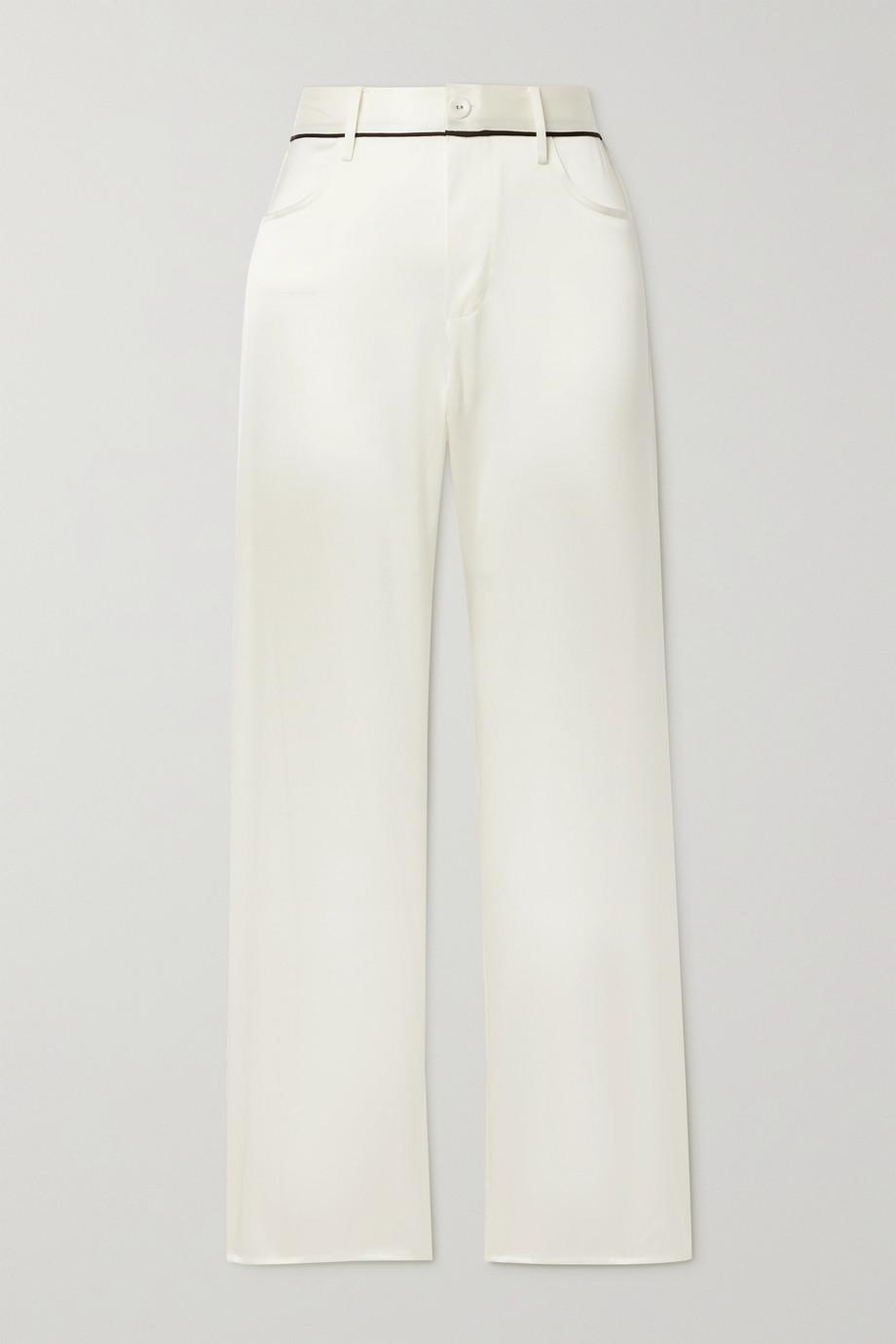 Fleur du Mal Pyjama-Hose aus Charmeuse aus einer Seidenmischung mit Paspeln