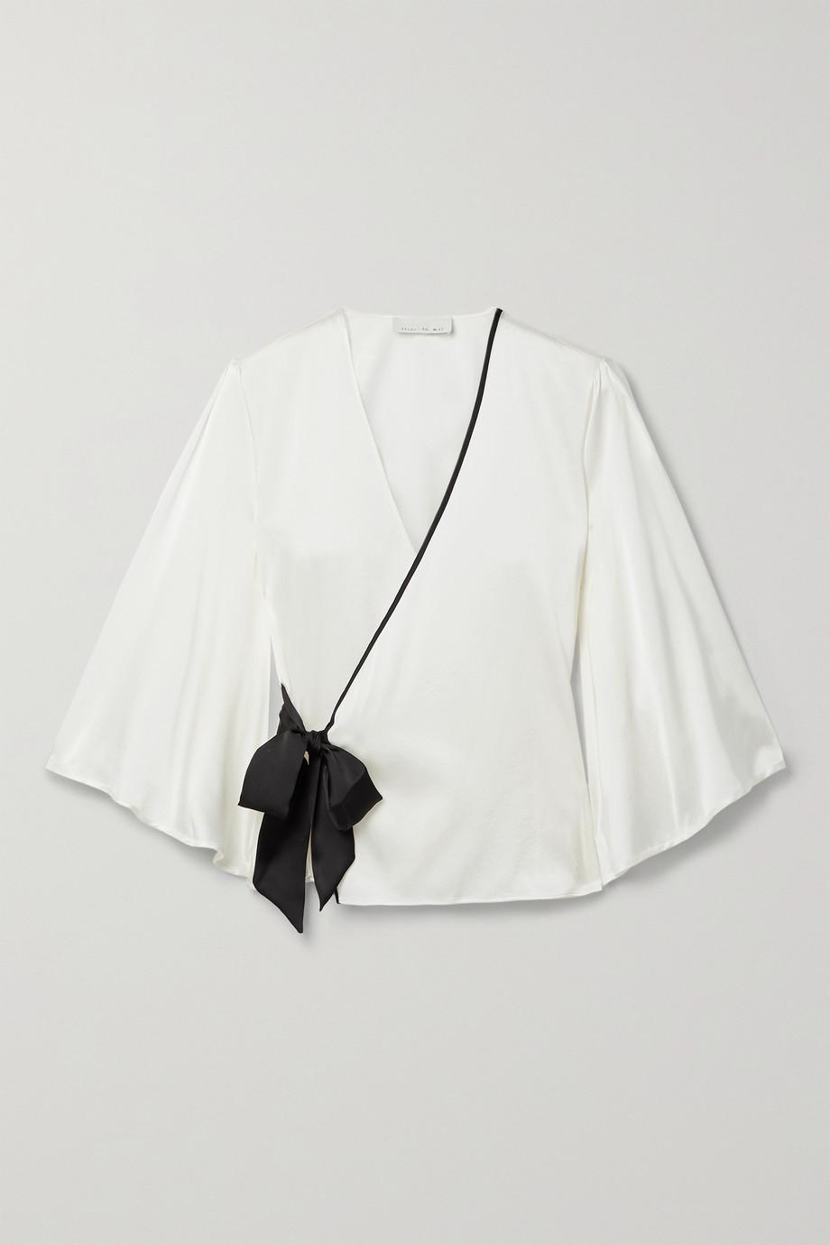Fleur du Mal Pyjama-Wickeloberteil aus Charmeuse aus einer Seidenmischung