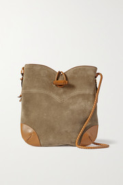 Isabel Marant Tyag leather-trimmed suede shoulder bag