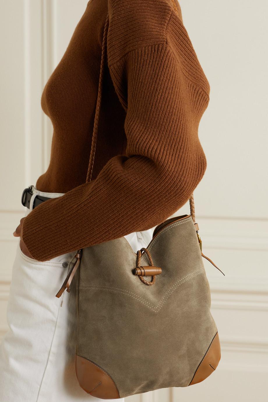 Isabel Marant Tyag leather-trimmed suede shoulder bag