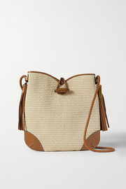 Isabel Marant Tyag leather-trimmed raffia shoulder bag