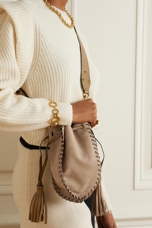 Isabel Marant Radja whipstitched leather-trimmed suede bucket bag