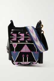 Isabel Marant Radja embroidered leather-trimmed suede bucket bag