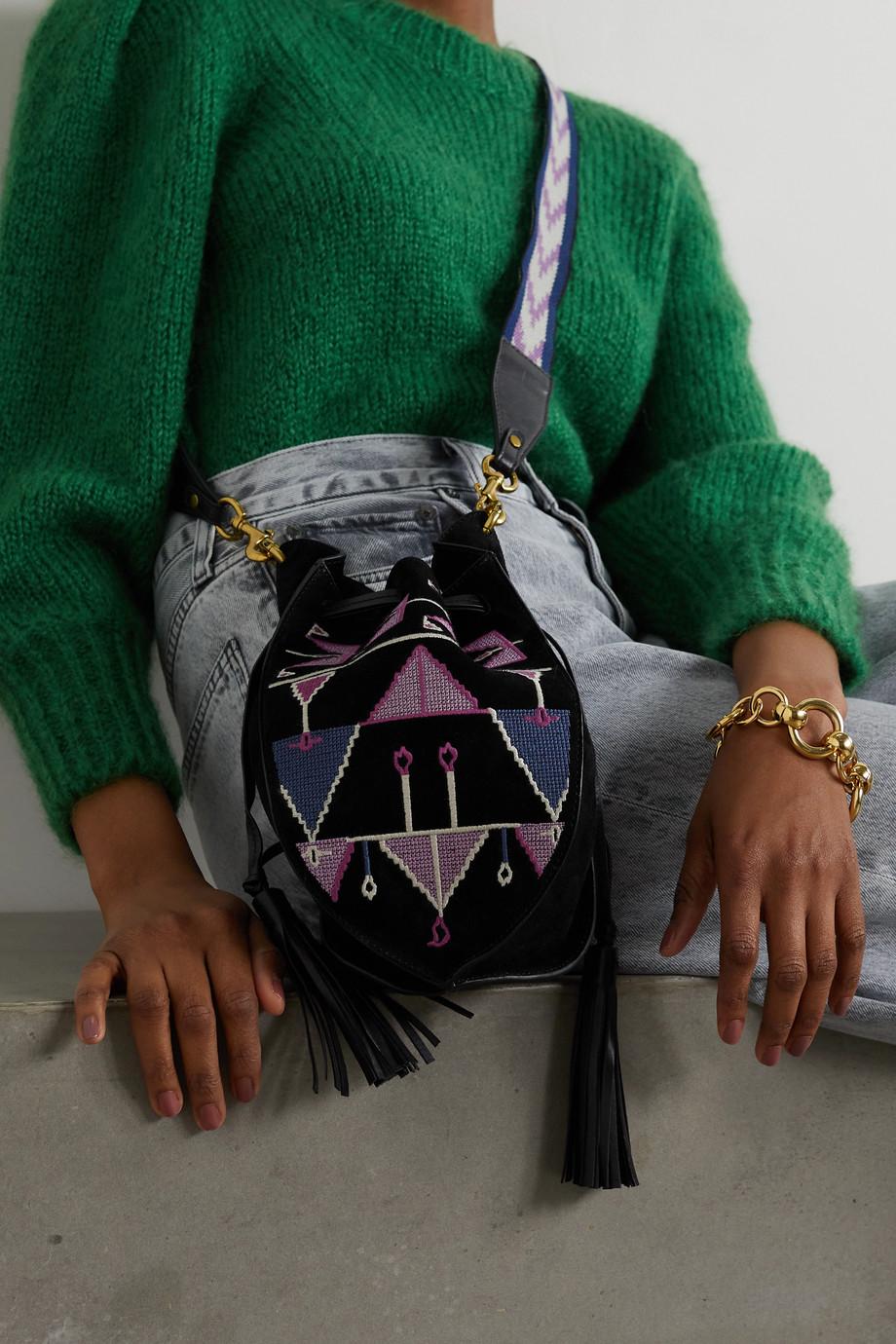 Isabel Marant Radja embroidered leather-trimmed suede bucket bag