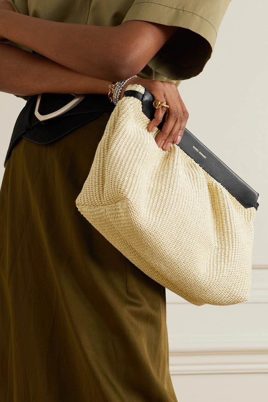 Isabel Marant Luz leather-trimmed raffia clutch