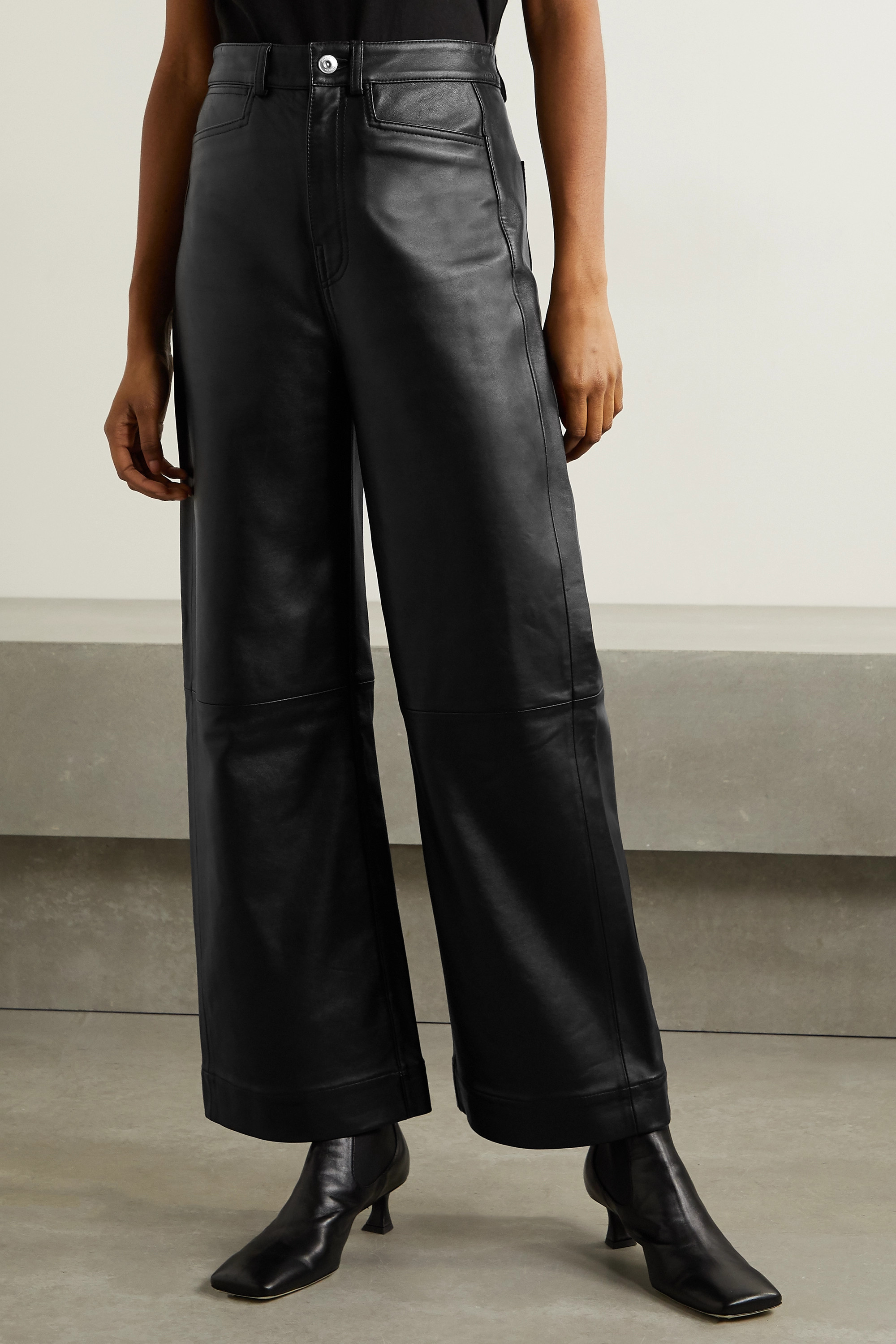 Proenza Schouler White Label Cropped leather wide-leg pants