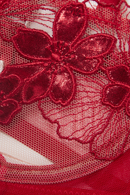 Fleur du Mal Violet satin-trimmed metallic appliquéd stretch-lace underwired balconette bra