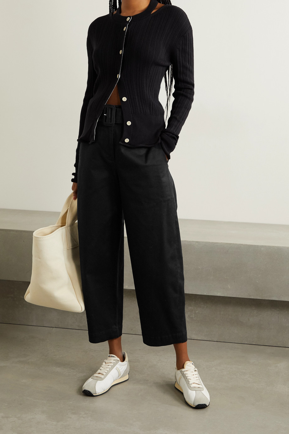 Proenza Schouler White Label Belted cropped cotton-blend twill straight-leg pants