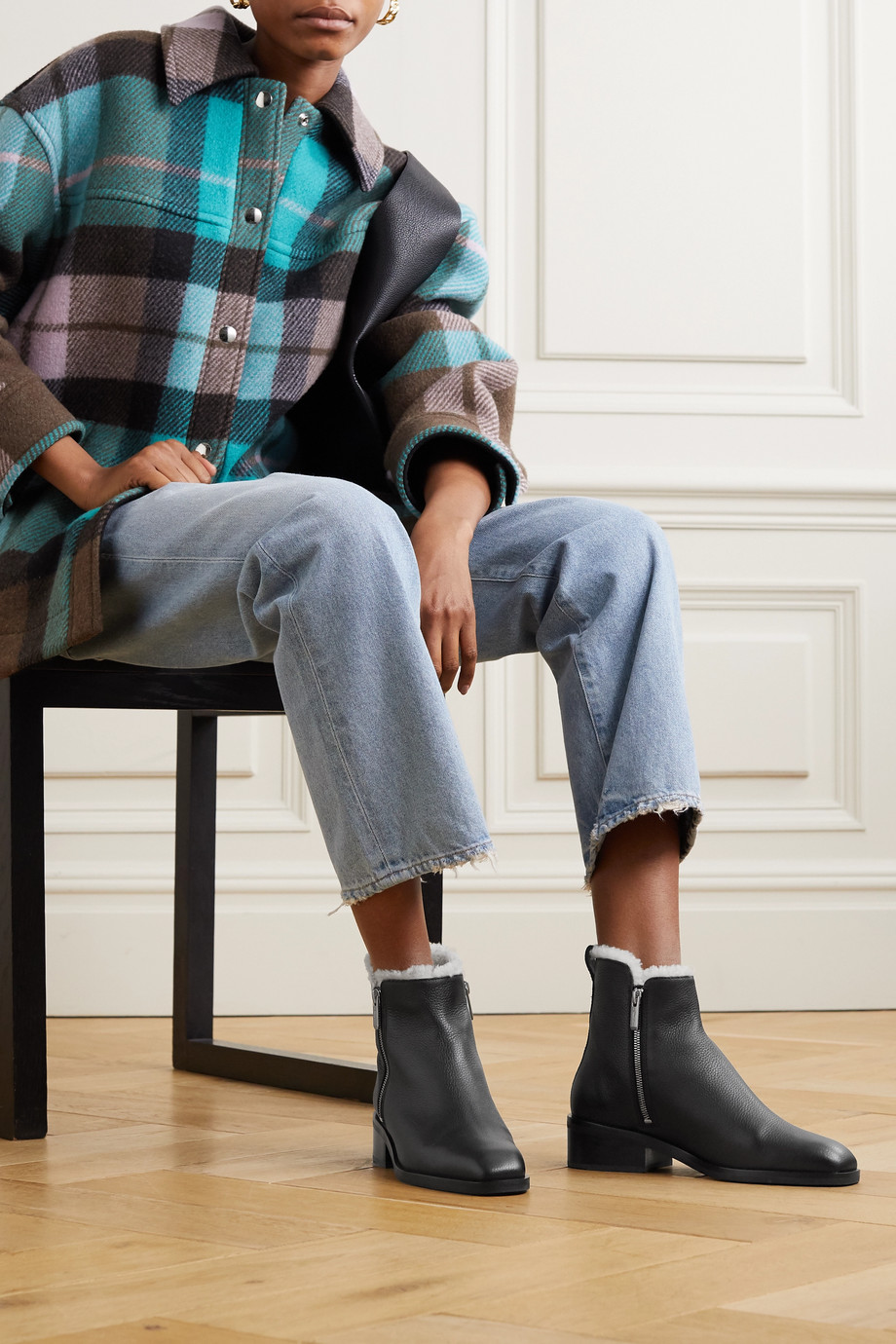 3.1 Phillip Lim Alexa shearling-lined textured-leather ankle boots