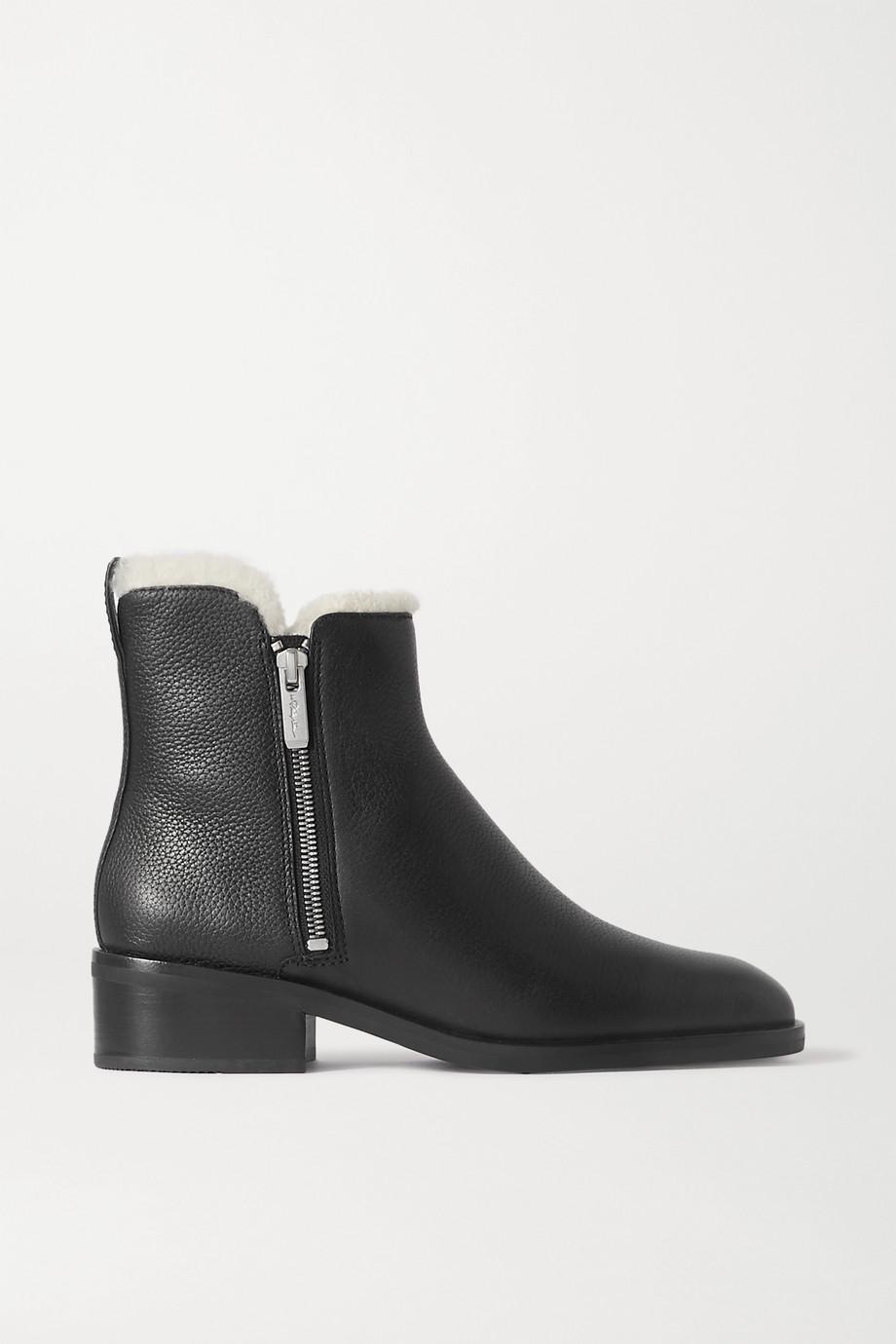 3.1 Phillip Lim Alexa 羊毛皮衬里纹理皮革踝靴