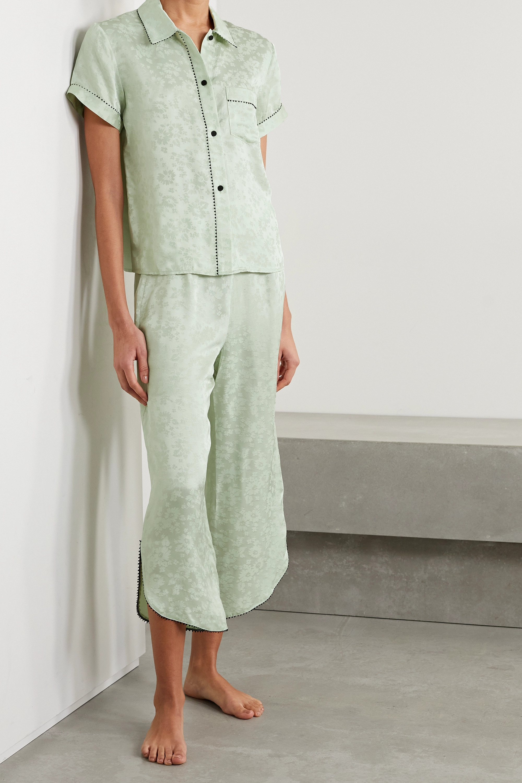 Morgan Lane Tami picot-trimmed satin-jacquard pajama shirt