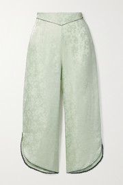 Morgan Lane Margo cropped picot-trimmed satin-jacquard pajama pants